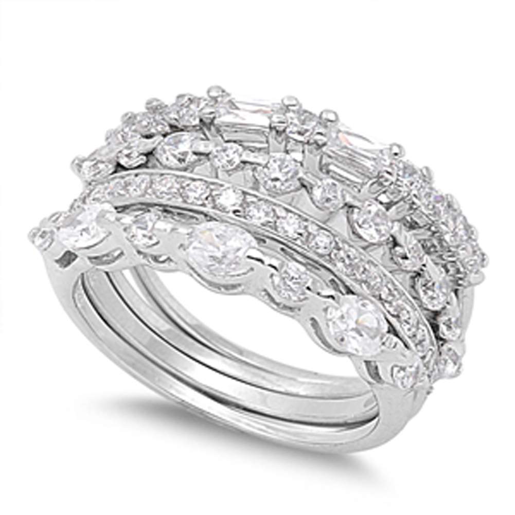 Stackable Wedding Set Clear CZ Unique Ring ( Sizes 4 5 6 7 8 9 10 11 ) .925 Sterling Silver Band Rings by Sac Silver (Size 10)