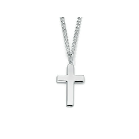 - Men's Rhodium-Plated Sterling Silver Cross Pendant and Stainless Steel Curb-Link Chain Necklace 24