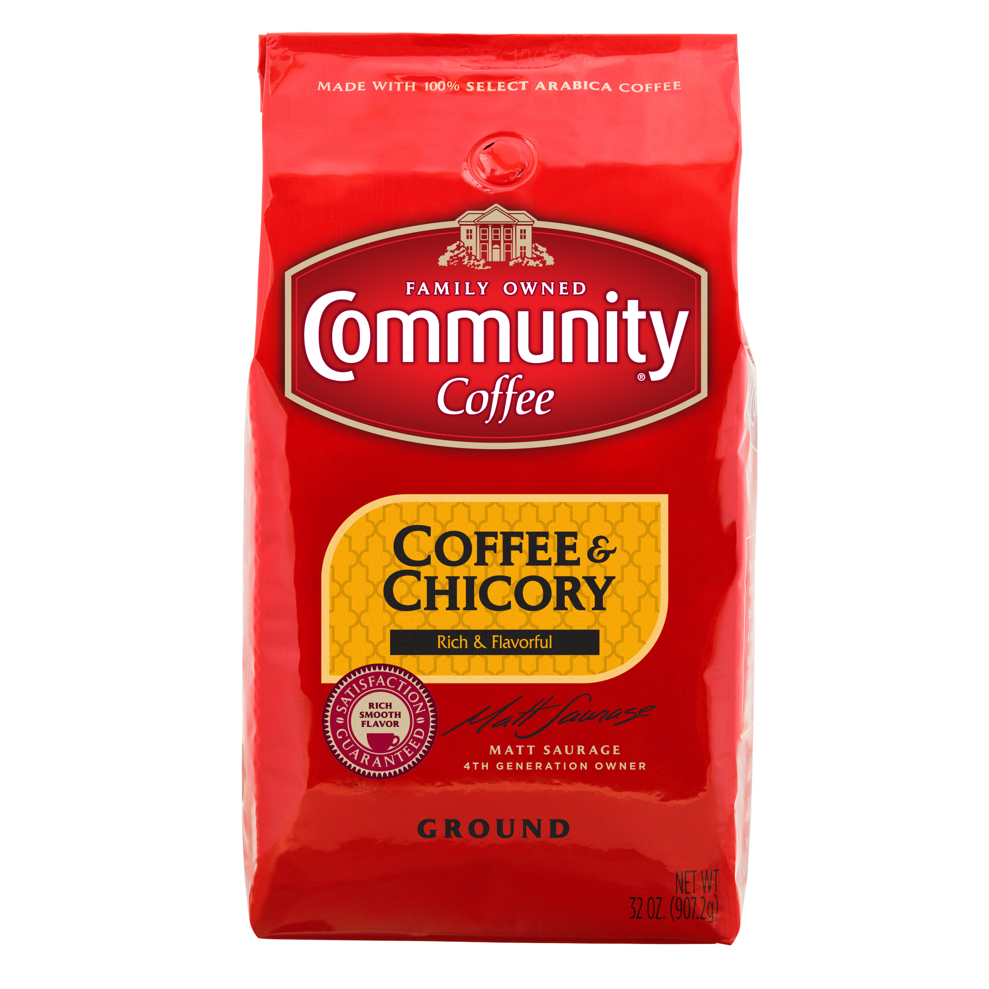 Community Coffee Premium Ground Coffee and Chicory Medium-Dark Roast Coffee, 32 Ounce