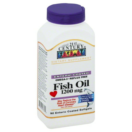 21st Century Fish Oil, 1200mg, Enteric Coated Softgels 90 (Fisol Enteric Coated Fish Oil)