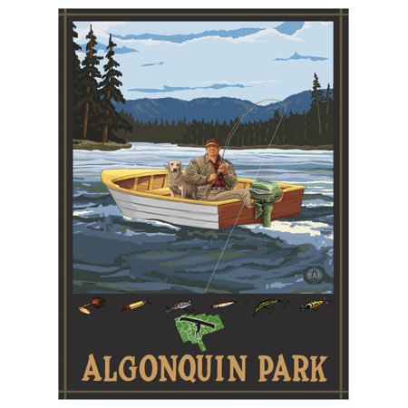 Algonquin Park Ontario Canada Fisherman In Boat Hills Travel Art Print Poster by Paul A. Lanquist (9