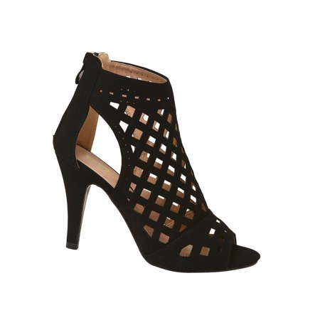 (Adult Black In-Caged Cut Out Peep-Toe High Heel Sandals Women)