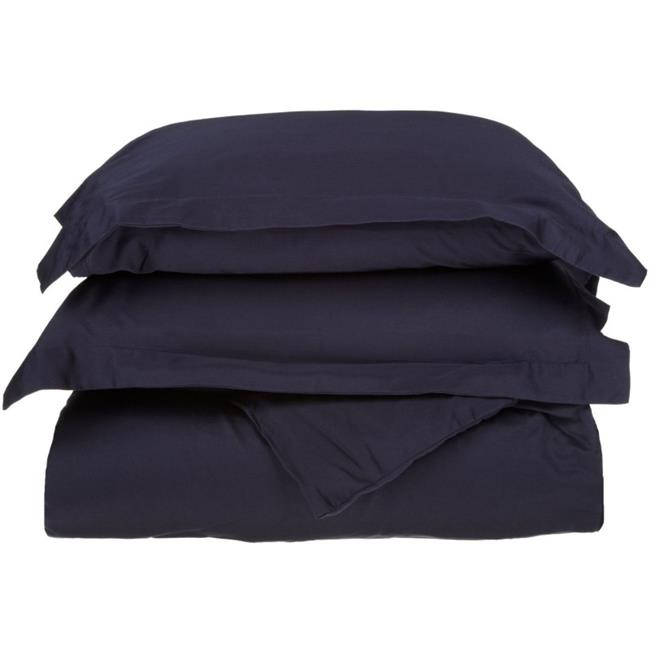Impressions C500TXDC SLNB 500 Twin & Twin XL Duvet Cover Set - Cotton Solid, Navy Blue