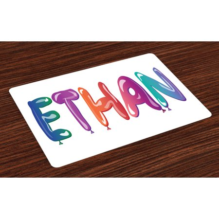Ethan Placemats Set of 4 Colorful Letters in the Shape of Balloons Happy Birthday Celebration Themed Font, Washable Fabric Place Mats for Dining Room Kitchen Table Decor,Multicolor, by Ambesonne - Happy Birthday Font