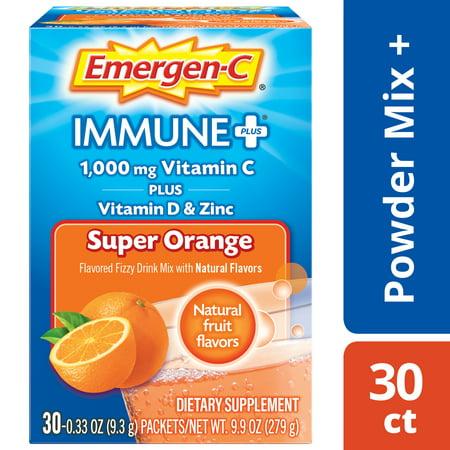 Emergen-c immune+ vitamin C Powder, super orange, 1000 mg, 30 ct (Vitamin E 1000 Mg)