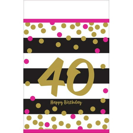40th Birthday Tableware (Over the Hill 'Hot Pink and Gold' 40th Birthday Plastic Table Cover)