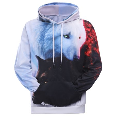 Fancyleo Cool 3d Wolf Print Hoodies Men Women Autumn Winter Fashion Casual Hoodie Tops Pullover Sweatshirts Long Sleeves Front Pocket Hip Hop Outerwear