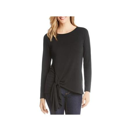 Karen Kane Womens Tie-Front Long Sleeve Pullover Sweater Indigo Long Sleeve Sweater