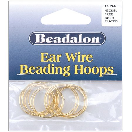 Square Beaded Hoops - Beadalon Ear Wire Beading Hoops Small 20mm, 14-Pack