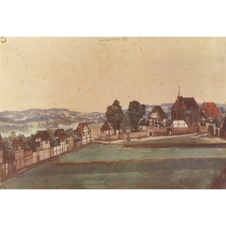 Framed Art for Your Wall Dürer, Albrecht - Nuremberg, locust suburb with a church and cemetery from north 10 x 13 Frame