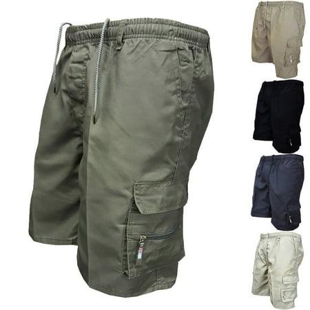 Mens Casual Cargo Shorts Elasticated Waist Half Pant Work Trousers Sport