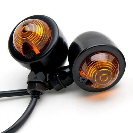 Krator Motorcycle 2 Pcs Black Amber Turn Signals Lights For Harley Davidson Road Glide Custom Ultra
