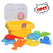 Educational toy 11PCS Kids Beach Toys Box Set Molds Tools Sandbox Toys On Summer Beach Holiday