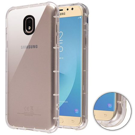 For Samsung Galaxy J7 (2018), J737, J7 V 2nd Gen, J7 Refine Phone Case Clear Shockproof Hybrid Armor Rubber Silicone Gel Cover Clear