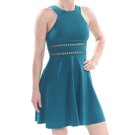 Junior Party Dress - TRIXXI Womens Teal Laddered Inset Scuba Sleeveless Above The Knee Party Dress Juniors  Size: 1