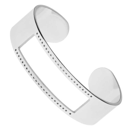 Centerline Beadable Cuff Bracelet, with Rectangular Cutout and Holes 16x58mm, 1 Piece, Silver