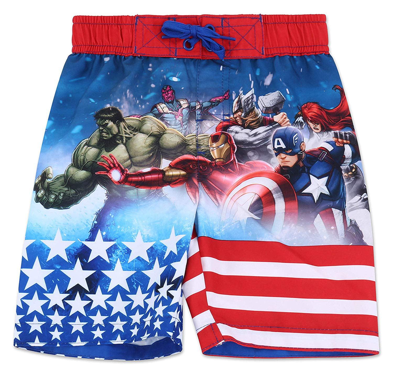 1479f736935b5 The Avengers - Marvel Avengers Boys' Stars & Stripes Swim Trunk Swimwear -  Red/White/Blue - Size 4, 5/6 & 7 - Walmart.com