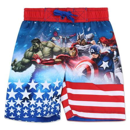 Marvel Avengers Boys' Stars & Stripes Swim Trunk Swimwear - Red/White/Blue - Size 4, 5/6 & 7