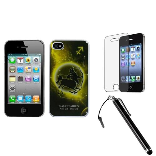 Insten Sagittarius Horoscope Collection Dream Back Case For iPhone 4 4S + Stylus + Protector
