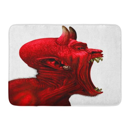 LADDKE Devil Scream Character As Red Demon Monster Screaming Fangs and Teeth Open Mouth Side View Horror Face 3D Doormat Floor Rug Bath Mat 23.6x15.7 inch](Demon Teeth)
