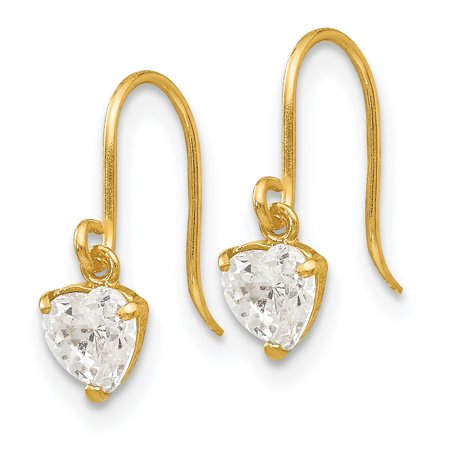 32f491967 14k Yellow Gold Cubic Zirconia Cz Childrens Heart Drop Dangle Chandelier  Earrings Love Fine Jewelry Gifts For Women For Her mothers day gifts mom  wife ...