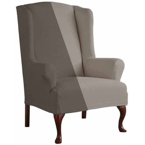 serta reversible microsuede stretch fit slipcover wingback chair 1piece t cushion - Slipcover For Wingback Chair