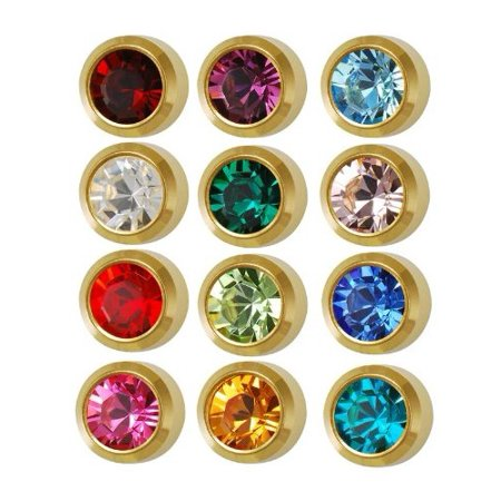 Surgical Steel Mini Gold 3mm Ear Piercing Earrings Studs 12 Pair Mixed Birth Stones, Yellow Metal, 1. 12 Pair Mixed 3MM Colored Glass Foil Back Stones.., By -
