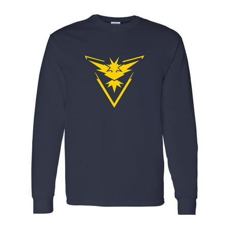 44c14de7b6 Pokemon Go Gym Team Instinct Yellow Mens Long Sleeve T-Shirt Top –  Walmart.com
