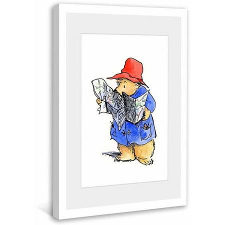 Paddington Bear Reading a Map Framed Art Print