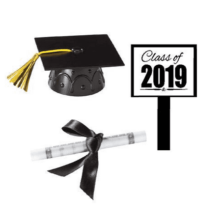 Black Mini Graduation Hat Cake Decoration Topper with Sign and Diploma