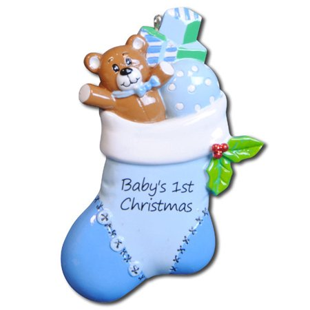 Blue Baby Stocking Personalized Christmas Ornament DO-IT-YOURSELF](Christmas Art For Toddlers)