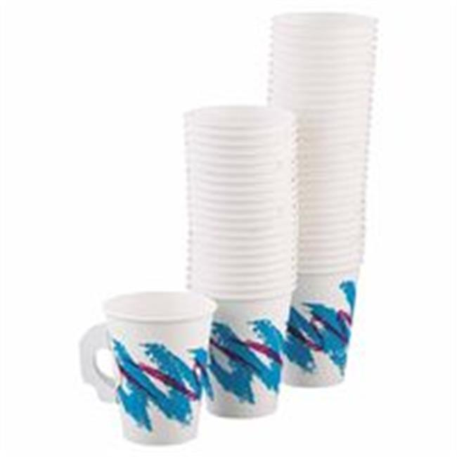 Solo 670-370JZ Single Sided 8 oz.  Jazz Design Poly Paper Handled Hot Cup