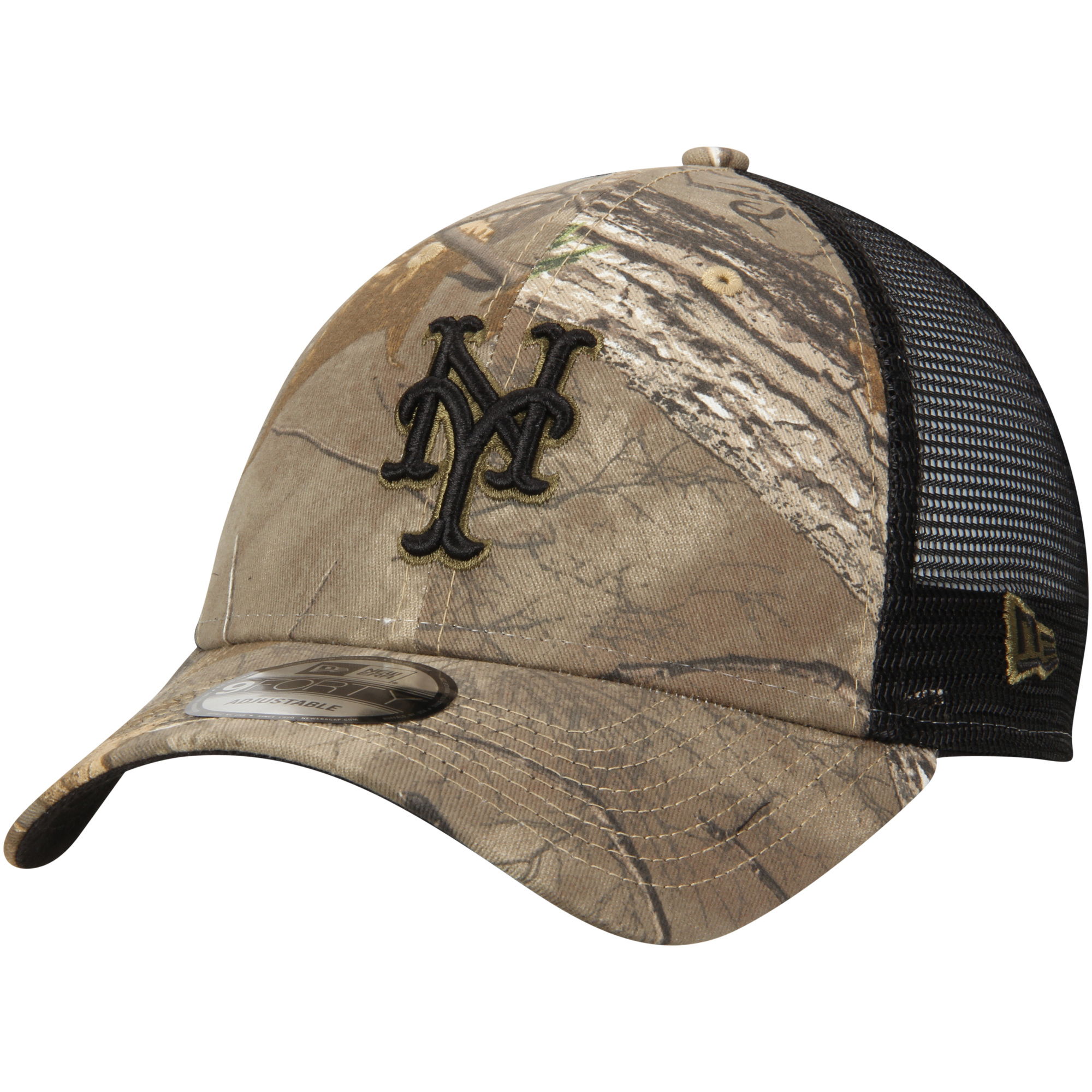 New York Mets New Era Realtree Trucker 9FORTY Adjustable Snapback Hat - Camo/Black - OSFA