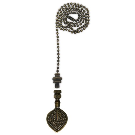Royal Designs Fan Pull Chain with Birch Leaf Finial – Antique Brass