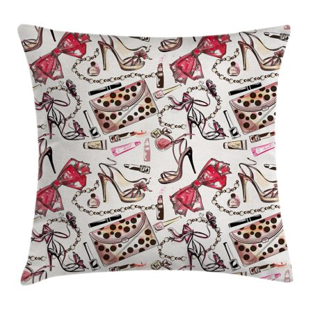 Fashion House Decor Throw Pillow Cushion Cover, Female Shoes Lipstic Perfume Accessory Fancy Items for Beauty Pattern Image, Decorative Square Accent Pillow Case, 18 X 18 Inches, Pink, by (Fancy Accents)