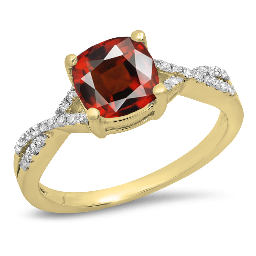 Dazzling Rock 14K Gold Cushion Garnet & Round White Diamond Ladies Swirl Split Shank Bridal Engagement Ring