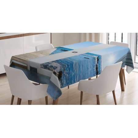 Beach Theme Decor Tablecloth, Coastal Decor Ocean Sea Sunny Scenery with Patio from Window, Rectangular Table Cover for Dining Room Kitchen, 52 X 70 Inches, Light Blue and White, by Ambesonne](Beach Table Cloth)