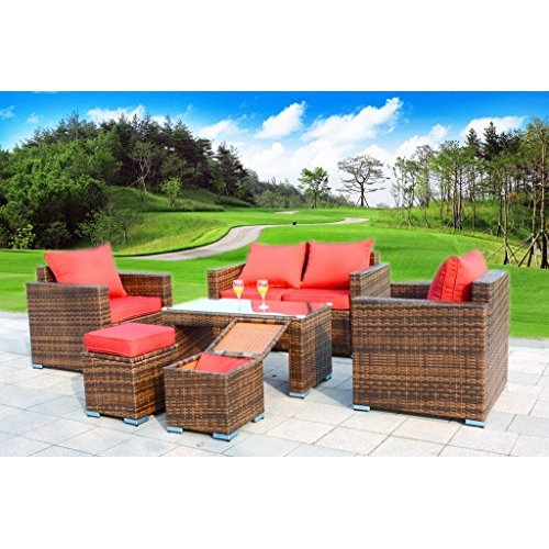 6 Piece Outdoor Sofa Patio Furniture Set Resin PE Brown Wicker Rattan, Sofa, 2 Ottomans, 2 Armchairs, Coffee Table... by
