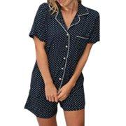 Women's Polka Dot Striped Button Short Sleeve Shirt Shorts Pajamas Set Summer Sleepwear 2 Piece