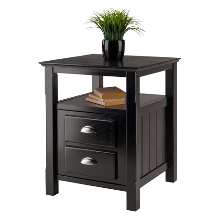 Winsome Wood Timber Nightstand with Door, Black Finish ()