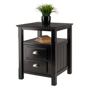 Winsome Wood Timber Nightstand with Door, Black Finish