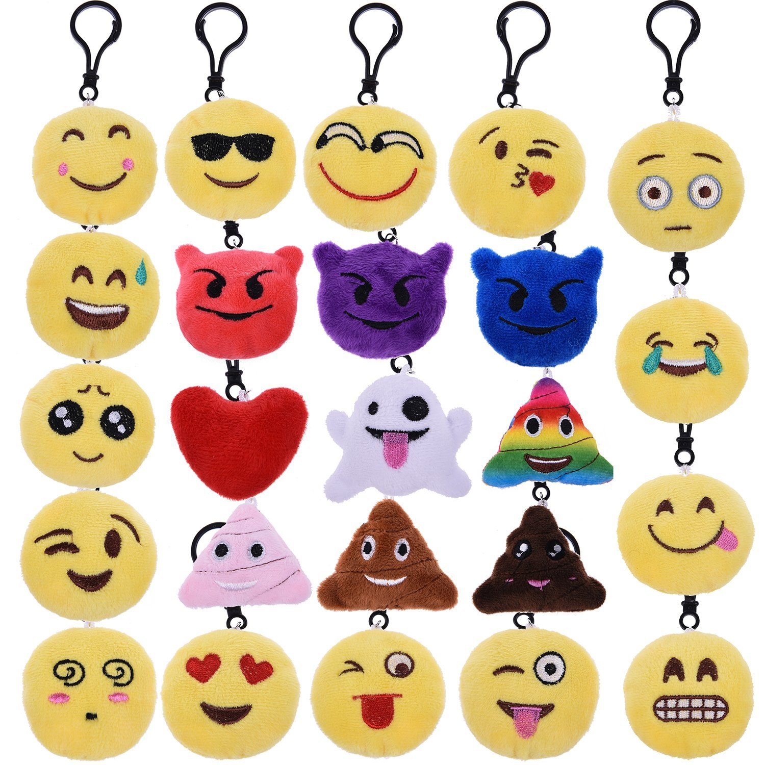 Emoji Toys Plush Pillows Keychain Party Supplies Pendants Set,Including Poop, Cry, Smile, Laugh Faces for Party Favors,Decoration, Birthday Gift 24 PCs F-140