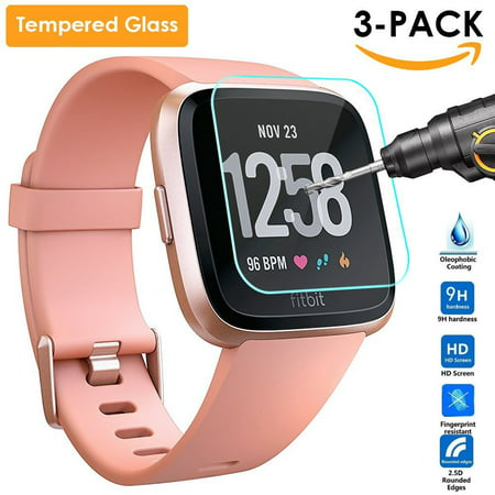3 Pack Tempered Glass Screen Protector for Fitbit Versa Smart Fitness Watch Tracker, Anti-Fingerprint, Anti-Bubble, Anti-Scratch, Ultra (Best App For Fitbit Flex)