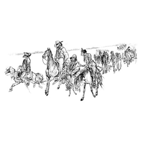 Native American Unrest Nexodus Of Half-Native American Men And White Men Married To Native American Women In The Western United States During The Ghost Dance War Sketch By JH Smith 1890 Rolled Canvas