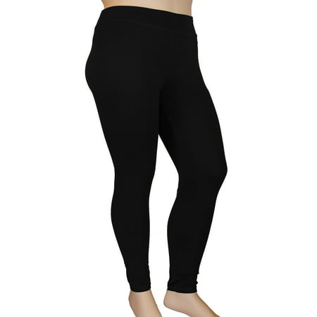 Stylzoo Plus Size Women's Ankle High Comfort Stretch Leggings Yoga Stretch Pants Black - Plus Size Footless Leggings