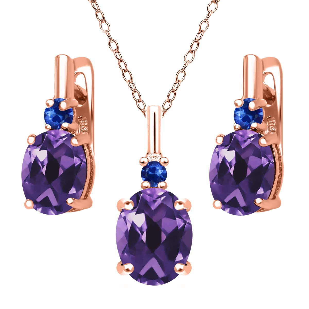 5.06 Ct Purple Amethyst Blue Sapphire 18K Rose Gold Plated Silver Pendant Earrings Set by