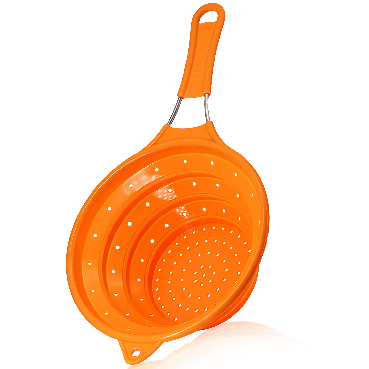 Collapsible Silicone Colander for Kitchen Use. Food Strainer with Stainless Steel Handle, 100% BPA Free and... by TOPOKO