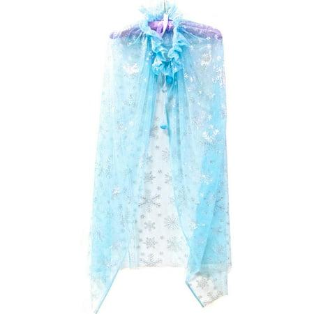 Wenchoice Girl'S Blue Cape Silver Snowflake L(6T-10T) - Silver Cape