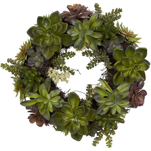 Nearly Natural Succulent Wreath