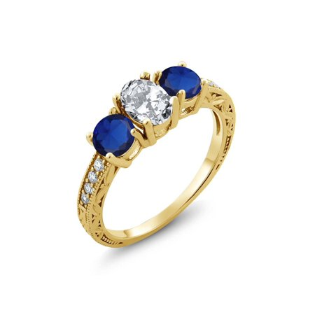 - 2.82 Ct White Zirconia Blue Simulated Sapphire 18K Yellow Gold Plated Silver Ring